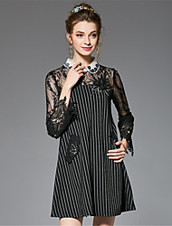 Women's Plus Size Sexy Fashion Casual/Daily Vintage A Line Loose Dress Bead Lace Patchwork Striped Bow