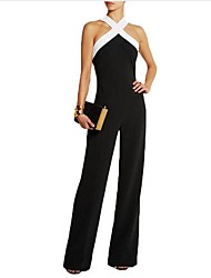 Women's Mid Rise Going out Jumpsuits,Sexy Loose Cut Out Solid Spring Summer
