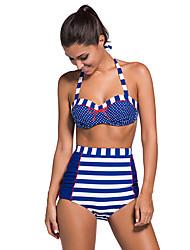 Women's Nautical Navy & White Stripe & Dot High Waist Halter Bikini