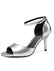 Tacón Stiletto-D'Orsay y Dos Piezas Zapatos del club-Sandalias-Oficina y Trabajo Vestido Fiesta y Noche-Cuero-Negro Plata