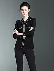 Burdully Casual/Daily Work Simple Spring Summer ShirtSolid Shirt Collar Long Sleeve Black Silk
