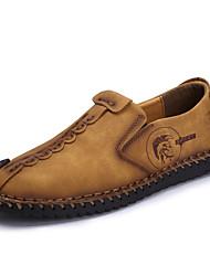 Herren Schuhe Leder Frühling Sommer Herbst Leuchtende Sohlen Komfort Loafers & Slip-Ons Walking Für Normal Schwarz lichter Ocker Khaki