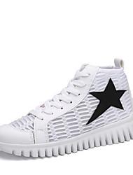 Sneakers-Tempo libero Casual Sportivo-pattini delle coppie-Piatto-PU (Poliuretano)-Nero Bianco