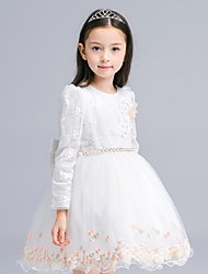 Ball Gown Short / Mini Flower Girl Dress - Organza Long Sleeve Jewel with Appliques Crystal Detailing