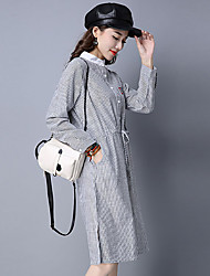 HOT!Women's Casual/Daily Simple Sheath DressStriped Print Round Neck Knee-length Long Sleeve Cotton Linen Blue Black Brown Spring FallMid