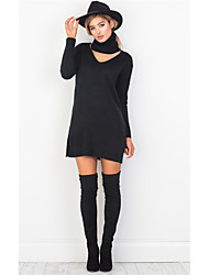 Europe v collar long sweater dress