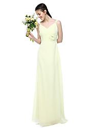 2017 Lanting Bride® Floor-length Chiffon Elegant Bridesmaid Dress - Sheath / Column Straps with Flower(s) Pleats