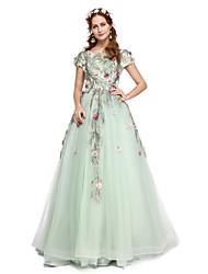 Formal vestido de noite - elegante uma linha de jóias varrer / escova treinar rendas tule com beading flor (s) pregas de renda
