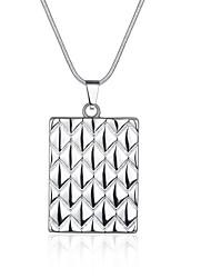 Women's Pendant Necklaces Chain Necklaces Jewelry Copper Silver Plated Square SnakeUnique Design Dangling Style Pendant Love Geometric