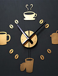 DIY Wall Clocks Coffee Cup Fashion Creative Watch Kitchen Decorate Gold