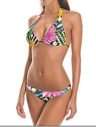 Women's Bandeau Bikini,Lace Up Polyester Pink