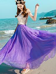 Röcke,Schaukel einfarbig Chiffon,Strand Urlaub Boho Hohe Hüfthöhe Maxi Elastizität Kunstseide Polyester Unelastisch Sommer