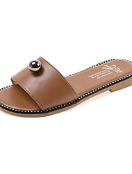 Women's Sandals Summer Comfort PU Casual Flat Heel Beading White Black Light Brown Walking