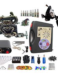 Kit completo para tatuaje   1 x máquina de tatuaje de acero para línea y sombreado Una aleación x tatuaje máquina para revestimiento y