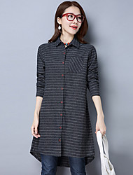 Sign 2017 spring new Korean cotton striped shirt Girls long section of large size women coat