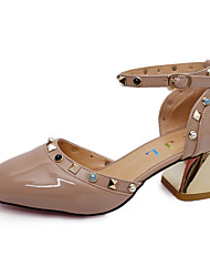 Heels Summer Club Shoes Leatherette Office & Career Casual Chunky Heel Rivet Buckle Light Grey Beige Champagne Walking