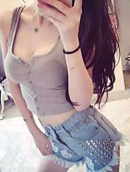 Mujer Sexy Casual/Diario Primavera Verano Tank Tops,Escote Redondo Un Color Sin Mangas Algodón Rojo Blanco Gris Medio