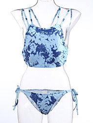 Women's Halter Bikinis , Color Block Push-up / Racerback Polyester Purple / Blue / Red