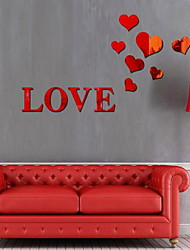 Love Shape Mirror Wall Sticker Acrylic Plexiglass Material Home Decoration