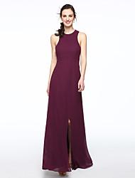 LAN TING BRIDE Floor-length Jewel Bridesmaid Dress - Beautiful Back Furcal Sleeveless Chiffon