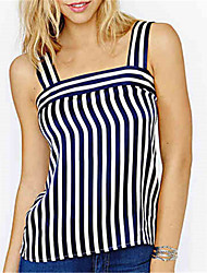 Fashion Wild Square Neck Sleeveless Retro Stripes Vest Daily Leisure Home Party Upper Outer Garment
