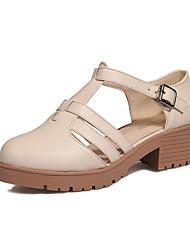 Women's Flats Spring Comfort PU Outdoor Flat Heel Black White