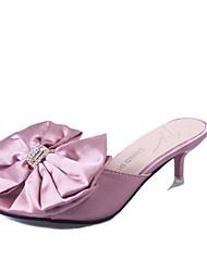 Women's Heels Summer Fall Comfort Slingback PU Office & Career Dress Casual Low Heel Rhinestone Applique Black Sliver Pink Walking
