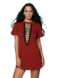 Women's Lace Up Half Sleeves Tee Dress