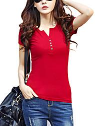 Damen Solide Einfach / Street Schick Lässig/Alltäglich T-shirt,V-Ausschnitt Sommer Kurzarm Rot / Weiß / Schwarz / Grau / Grün / Lila