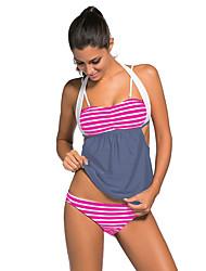 Women's Stripes Grey Splice Tankini Swimsuit