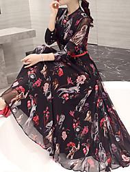 Feminino Reto balanço Vestido,Para Noite Trabalho Tamanhos Grandes Simples Moda de Rua Temática Asiática Xadrez Gola Redonda Longo Médio