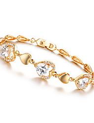 Bracelet Chain Bracelet Alloy Zircon Rhinestone Others Fashion Birthday Engagement Gift Valentine Jewelry Gift Gold White,1pc