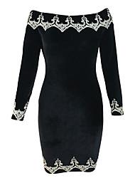 Women's Embroidered Hem Velvet Party Dress