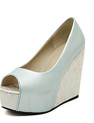 Damen-Sandalen-Kleid-PU-KeilabsatzWeiß Hellblau