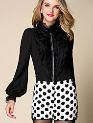 Damen Solide Einfach Arbeit Hemd,V-Ausschnitt Langarm Weiß Schwarz Seide