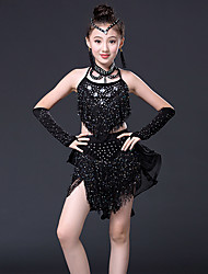 Latin Dance Outfits Children's Performance Spandex Milk Fiber Rhinestones Paillettes Tassel(s) 8 Pieces Sleeveless Natural Dance Costumes with Earring