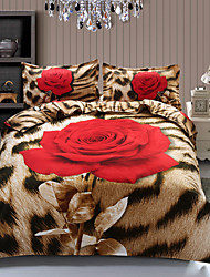 Shuian® Duvet Cover Set, 4 Piece Suit Twill 100% Cotton Comfort Simple Modern with 3D Rose  Pattern