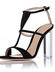Women's Sandals Spring Summer Fall Club Shoes T-Strap Customized Materials Wedding Party & Evening Dress Translucent Heel Buckle Black Gold