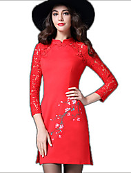 2016 Hitz Damen neun Punkte Hülse Kleid Nähte Kragen Druckkleid roter Spitze