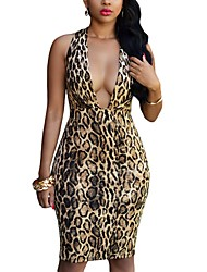 Women's Casual/Daily Club Sexy Street chic Bodycon DressAnimal Print Leopard Split Over Hip Deep V Knee-length Sleeveless Mid Rise