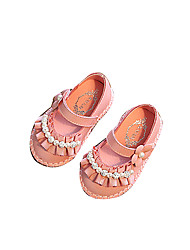 Baby Flats Comfort Flower Girl Shoes Leatherette Spring Fall Casual Outdoor Walking Comfort Flower Girl Shoes Magic Tape Low HeelBeige