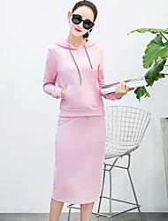 Modell echter Schuss Herbst der neue koreanische mit Kapuze langärmeliger Pullover Rock aus zweiteiligem Temperament Flut