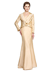 2017 Lanting Bride® Sheath / Column Mother of the Bride Dress - Elegant Floor-length Long Sleeve Taffeta with Flower(s) Pleats