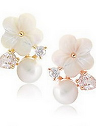 Women's Stud Earrings Pearl Natural Fashion Pearl Sterling Silver Shell Flower Daisy Jewelry For Daily