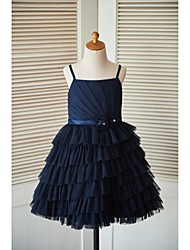 A-line Knee-length Flower Girl Dress - Tulle Sleeveless Spaghetti Straps with Flower(s) Sash / Ribbon