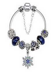 Women's Couple's Chain Bracelet Crystal Alloy Natural Friendship Fashion Flower Snake Blue Jewelry 1pc