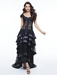 TS Couture Formal Evening Dress - Elegant Celebrity Style Ball Gown Off-the-shoulder Asymmetrical Lace with Appliques Pleats