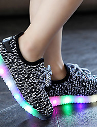 Athletic Shoes Spring Summer Fall Light Up Shoes Comfort Light Soles Tulle Outdoor Athletic Casual Low Heel LED Black Blue Purple Running