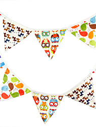 3.2m 12 Flags Cute Banner Pennant Cotton Bunting Banner Booth Props Photobooth Birthday Wedding Party Decoration