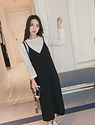 Sign spot 2017 spring new round neck long-sleeved t-shirt fashion harness dress two-piece suit